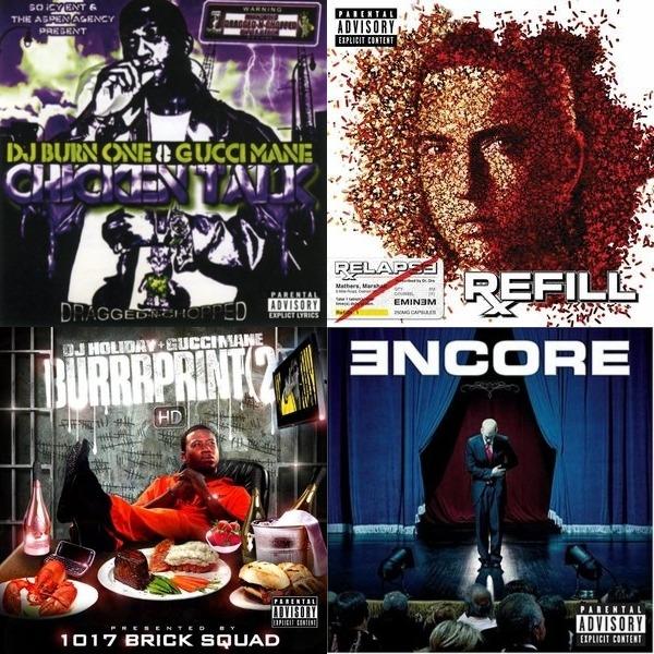 Eminem, Juice WRLD, MGK, Logic, Gucci mane,